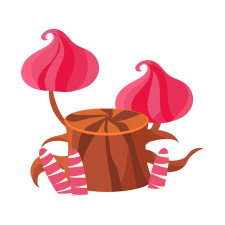 Chocolate stump with pink mushrooms made of marshmallows. Colorful cartoon vector Illustration