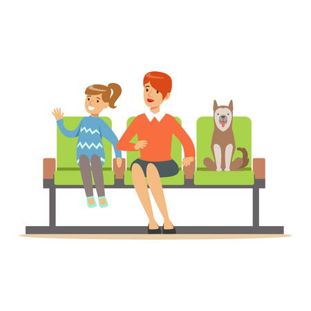 Mother and her daughter sitting in waiting hall with her pet dog and expecting for visiting a doctor. Colorful cartoon character Illustration