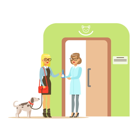 Woman holding a dog on a leash in veterinary clinic. Colorful cartoon character Illustration