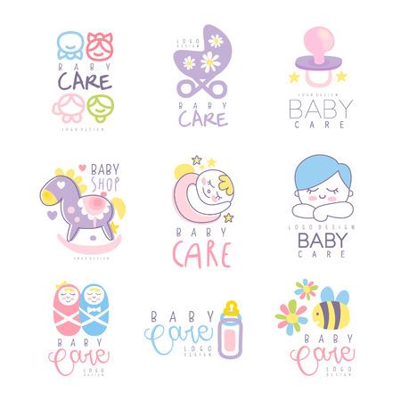 Babypflege für Logo-Design gesetzt. Bunte Hand gezeichnete Vektorillustrationen für Babywaren, Sorgfalt gehäuse, Produkte, Kinderspeicher, annoncierend