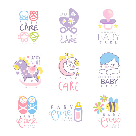 Baby care set for logo design. Colorful hand drawn vector Illustrations for baby goods, care belongings, products, kid store, advertising