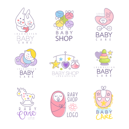 Baby shop set for  design. Colorful hand drawn vector Illustrations for baby goods, care belongings, products, kid store, advertising Stock Illustratie