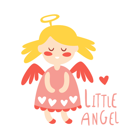 Little baby girl angel. Colorful hand drawn vector Illustration isolated on a white background