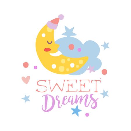 三日月と雲を眠っているかわいい漫画。カラフルな甘い夢手描画ベクトル図が白い背景に分離