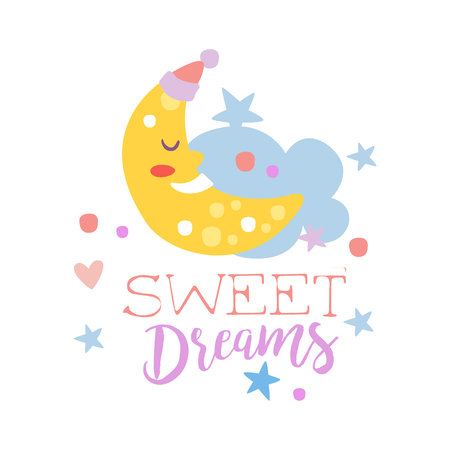 Cute cartoon sleeping crescent and cloud. Sweet dreams colorful hand drawn vector Illustration isolated on a white background