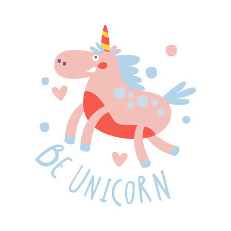 Cute cartoon flying unicorn. Be unicorn colorful hand drawn vector Illustration isolated on a white background