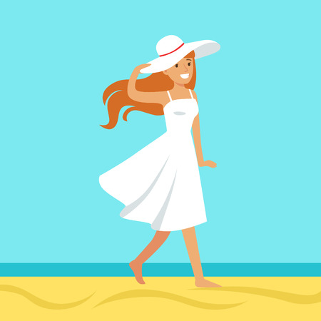 Beatuful woman in a white dress and beach hat against a bright blue sky and sea on a holiday beach, colorful vector Illustration Illustration