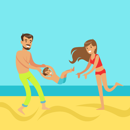 Happy mother and father with their son having fun on a beach, colorful vector Illustration