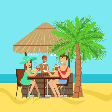 Jong paar zitten in het cafe bij het strand en drinken cocktail, kleurrijke vector illustratie
