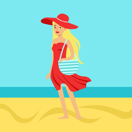Beatuful woman in a red dress and beach hat against a bright blue sky and sea on a holiday beach, colorful vector Illustration Illustration