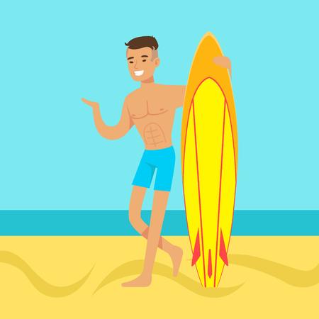 Giovane che cammina sulla spiaggia con illustrazione vettoriale colorato surf Archivio Fotografico - 78102263