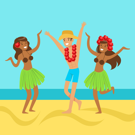 Hawaiian girls and happy man dancing on on a tropical beach, colorful vector Illustration