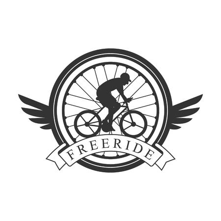 フリーライド ビンテージ ラベル。フリーライド クラブ紋章の黒と白のベクトル図