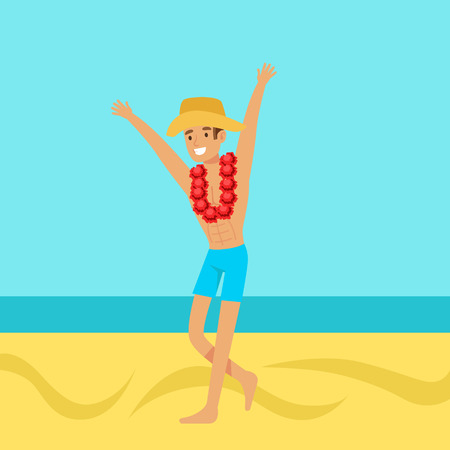 Happy man in swimsuit and hat with necklace of flowers on his neck, colorful vector Illustration Illustration