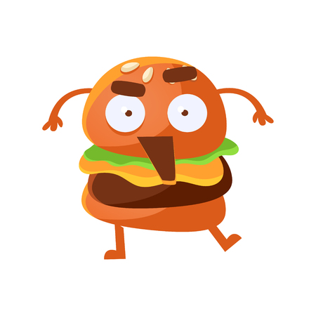 Indignant funny burger with big eyes and opened mouth. Cute cartoon fast food emoji character vector Illustration isolated on a white background