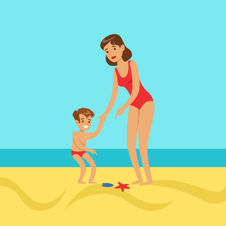 enjoying: Mother with her son walking on a beach, colorful vector Illustration