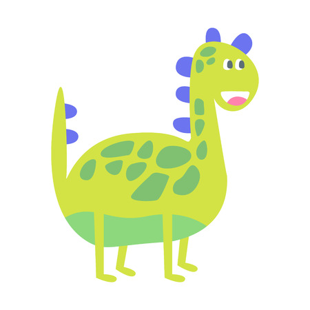 Cute funny green dinosaur. Prehistoric animal character colorful vector Illustration isolated on a white background Illustration