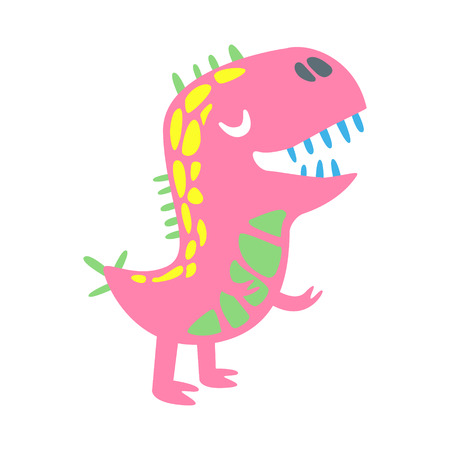 Colorful funny dinosaur. Prehistoric animal character vector Illustration isolated on a white background