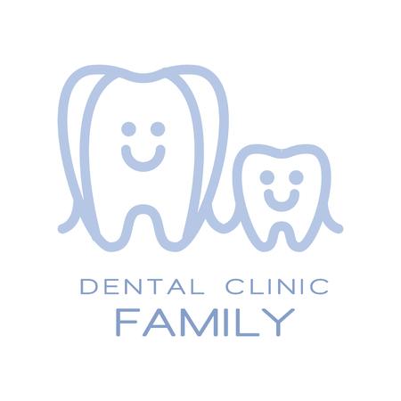 Family dental clinic  symbol, vector Illustration for children stomatology or dentist