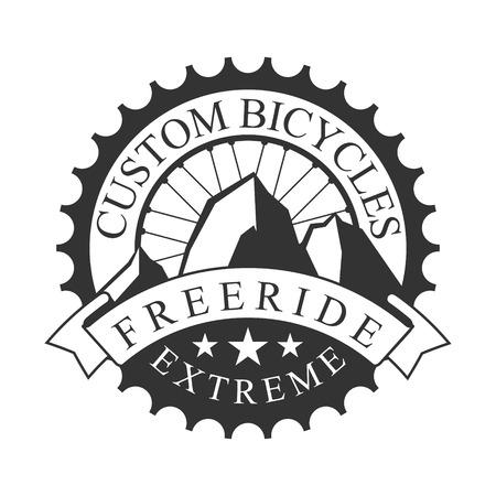 Freeride extreme custom fietsen vintage label. Zwart-wit vectorillustratie voor freeride club embleem Stock Illustratie