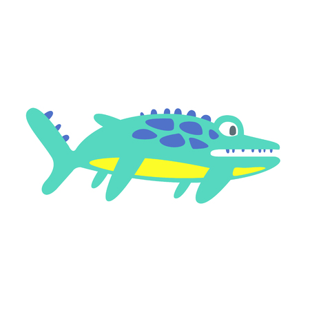 Cute funny ichthyosaur, prehistoric animal character colorful vector Illustration