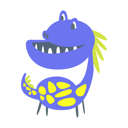 Blue and yellow funny dinosaur. Prehistoric animal character vector Illustration isolated on a white background Illustration