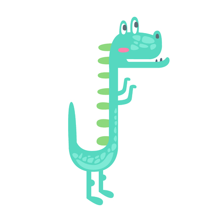 Cute little dino. Prehistoric animal character colorful vector Illustration isolated on a white background Illustration