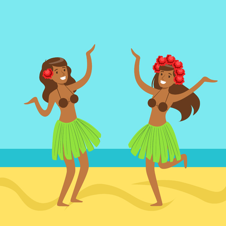 Hawaiian girls dancing in grass skirts, with hibiscus flowers in their hair, colorful vector Illustration
