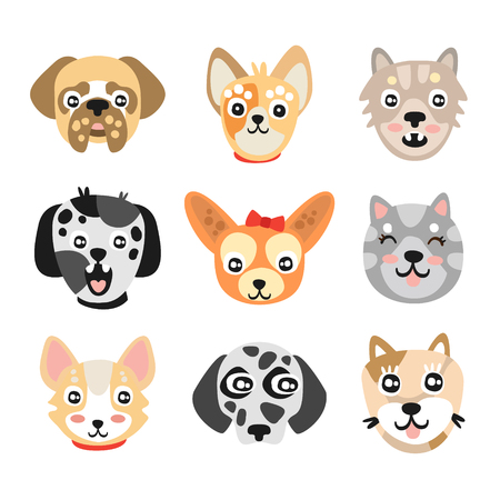 chow: Set of cute cartoon dogs heads. Colorful character vector Illustrations