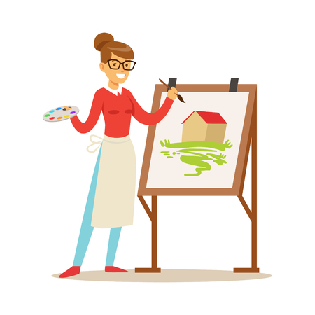 Woman artist holding palette and brush standing near easel. Craft hobby and profession colorful character vector Illustration 일러스트