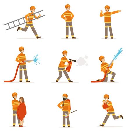 brandweerlieden in oranje uniform doen hun werk set. Brandweerman in verschillende situaties cartoon vector illustraties