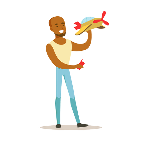 Young woman launching radio controlled airplane. Colorful character vector Illustration
