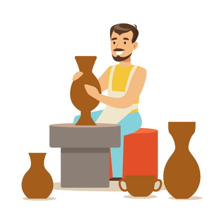 Young man potter making ceramic pot. Craft hobby and profession colorful character vector Illustration