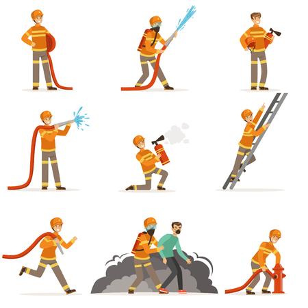 Brandweermannen doen hun werk en redden mensen. Brandbestrijder in verschillende situaties cartoon vector illustraties