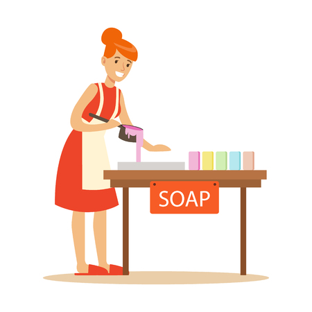 Happy young woman making homemade soap. Craft hobby and profession colorful character vector Illustration