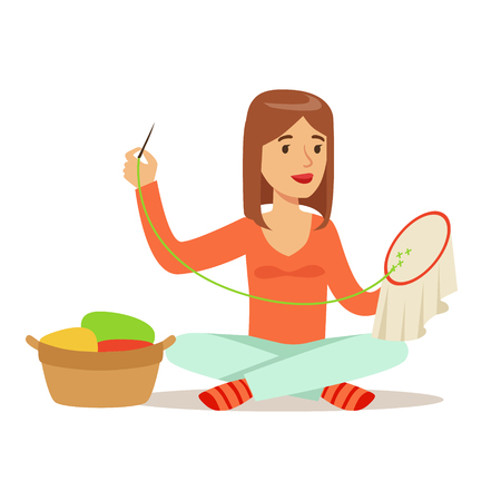 Young woman sitting on the floor and embroidering cross on the canvas. Craft hobby and profession colorful character vector Illustration