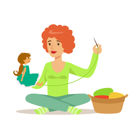 seamstress: Young woman sitting on the floor and sewing doll. Craft hobby and profession colorful character vector Illustration