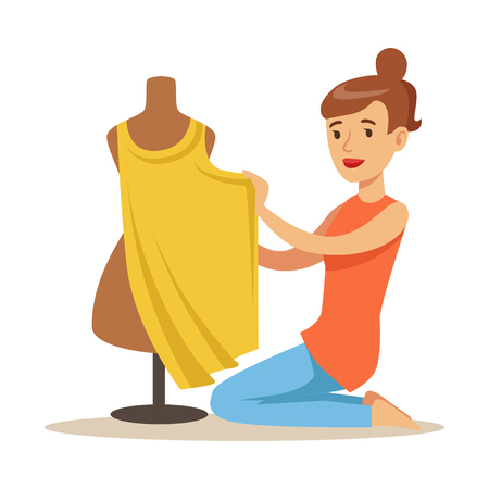 Young woman tailor sitting on the floor and sewing dress on a dressmakers dummy. Craft hobby and profession colorful character vector Illustration