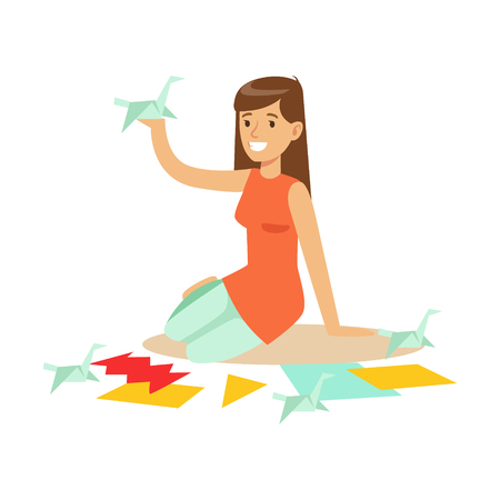 hand holding paper: Cheerful young woman making origami cranes from colorful papper. Craft hobby and profession colorful character vector Illustration