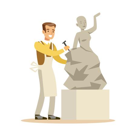 Jeune homme sculpteur travaillant sur sa sculpture. Artisanat passe-temps et profession vecteur de caractères colorés Illustration