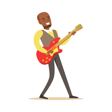 Young musician playing electric guitar. Colorful character vector Illustration