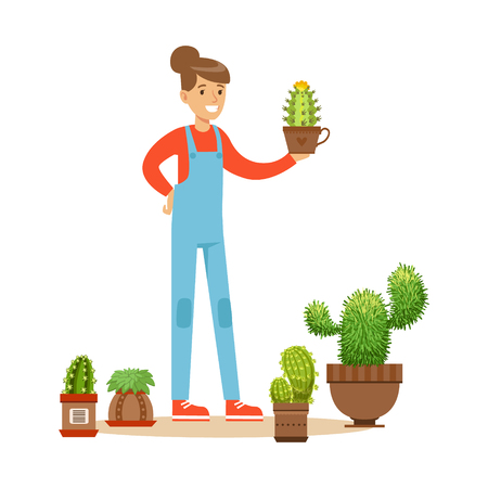 Woman planting succulents. Hobby or profession olorful character vector Illustration Illustration