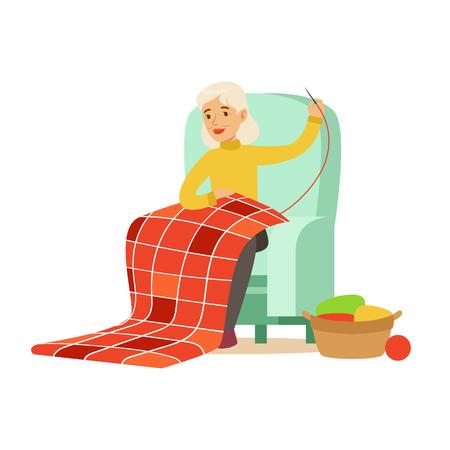 할머니 바느질 의자에 앉아입니다. 다채로운 문자 벡터 일러스트 스톡 콘텐츠 - 78256540