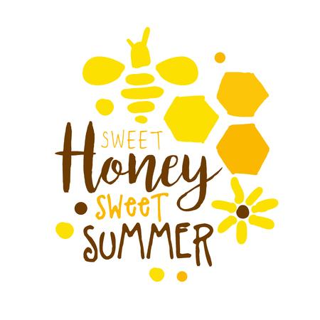 Honey sweet summer colorful hand drawn vector illustration Ilustração