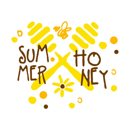 Summer honey colorful hand drawn vector illustration