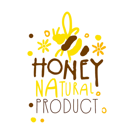 Honey natural product. Colorful hand drawn vector illustration
