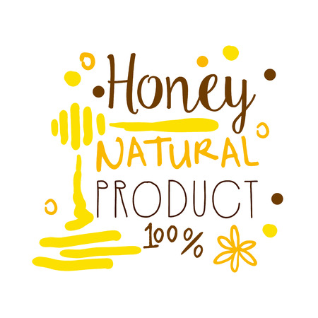 Honey natural product, 100 percent symbol. Colorful hand drawn vector illustration