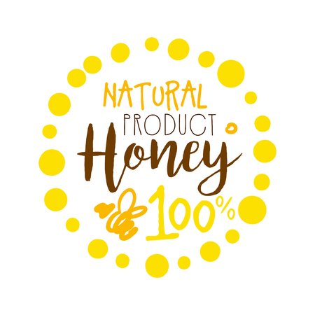 Honey natural product, 100 percent. Colorful hand drawn vector illustration