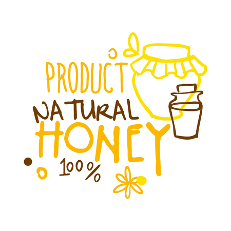Natural product, honey 100 percent symbol. Colorful hand drawn vector illustration