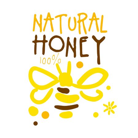 Natural honey, colorful hand drawn vector illustration
